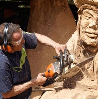 Simon Hedger Wood Carver working on the Mad Hatter
